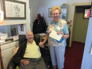 Dan Cullen with his still happy golfing student Vally May delivering his 100th birthday card. You meet friends for life in golf.