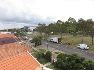 View of Anzac Parade and construction outside my window in Kingsford.