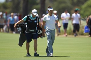 Paul Spargo, walking with his caddie, unfortunately did not march to victory on Sunday at the Masters.