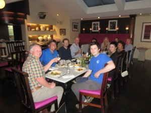 With Peter Devine and his son at the head of our table at The Mantra Restaurant.