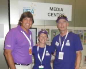 With Caroline Kelly & Peter Hasking of the Avners Foundation. Everyone went purple for pancreatic cancer on Friday at the PGA.