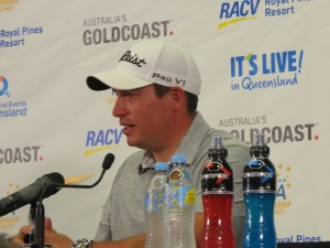 American Scott Stallings, said in his media interview on Monday that he was originally schedule to play in the first two Australian events but hurt his back in a fluke incident slipping on some ice on the driving range in China. He opened with an even-par 72.