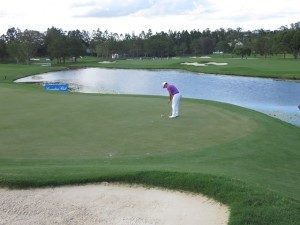 Wade Ormsby putting on the 8th green of the new Graham Marsh-redesigned from nine at the RACV Royal Pines Resort.