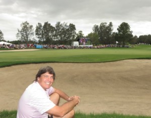 My spot at the 18th green for the epic playoff!
