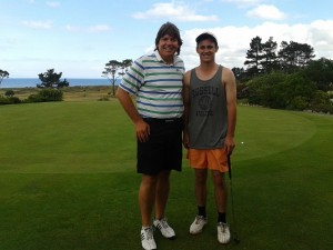 With strong junior golfer Baden Keown. It was fun to watch him play the first nine with us!