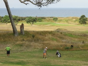 Baden ready to play, Laurie watching, beautiful links golf in New Zealand!