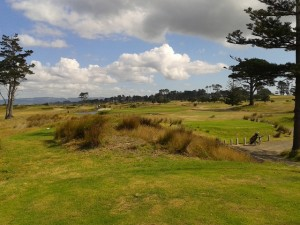 The tee shot on the newly constructed 155-meter par-3 17th hole! As authentic links as you get!
