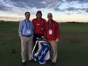 With Chad English, Head Golf Professional at Shady Oaks CC (L), and Brad McCollum, Director of Partner Development at the Ben Hogan Golf Equipment Company (R) and holding the modern Equalizer!