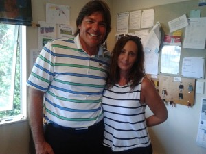 With Kim Davis at Waipu Golf Club, with our matching shirt & top on the day I visited!