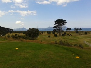 The 10th tee at Waipu, the view of Bream Bay, the South Pacific Ocean and the links!