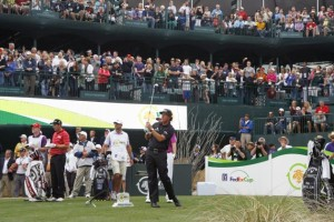 Phil Mickelson tees off on the 16th in the Stadium enroute to victory at the 2013 Waste Management Phoenix Open.