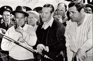 Bing Crosby (left)  is seen here with Bob Hope (center) and Babe Ruth, circa 1940. (Courtesy of the USGA Museum).
