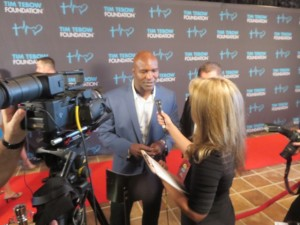 Former Undisputed World Champion Evander Holyfield on the Red Carpet. His next opponent is Mitt Romney.