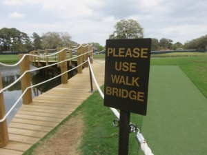 An innovative temporary walk bridge has been installed on the island 17th green to minimize foot traffic entering the green. Maybe a new back left hole location this year?