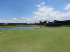 The 18th, a great finishing hole at the Sanctuary Cove Golf & CC Pines Course.