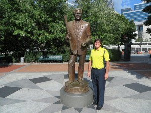 """With the William Porter """"Billy"""" Payne Statue in Centennial Park."""
