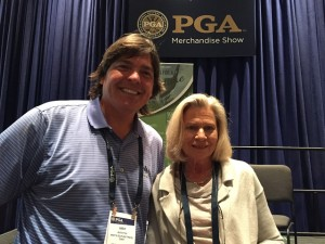 With Linda Hartough, Lady of the Masters, U.S. Open, British Open... at the 2015 PGA Show.