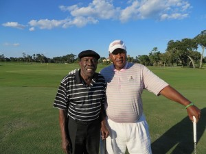 Calvin Peete with his good friend Arthur Johnson. Two balls in a cup.