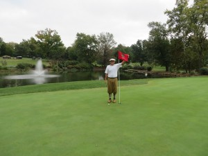 One of my best mashie shots ever, near kick in on the 9th hole for a deuce!