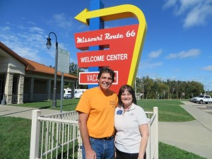 Torch and I loved driving down Route 66! With Kammy who manages the Visitor Center.