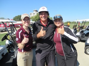 I was an Aggie for a day and even learned 'Gig 'em' from Julia Lancaster (L) and Michelle Lilie (R).