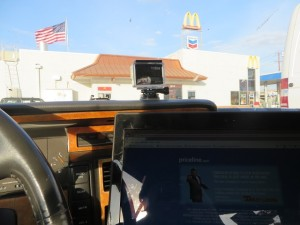 Parked at McDonalds to use the free internet to Priceline a room.
