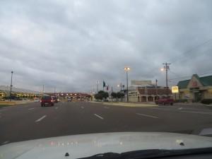Crossing the USA-Mexico border at Nuevo Laredo.