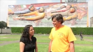 With Adriana Gonzalez Duran in front of David Siqueiros mural 'The People to the University and the University to the People.'