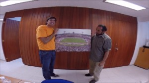 With Cristobal Lopez Yanez and a full Olympic Stadium. Had Omar use the Go Pro camera, not the fisheye effect!