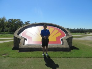 Me and the Shell on the 18th tee at the Golf Club of Houston.