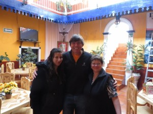 With Mother Sophia and Daughter Martha at their Posada Santa Elena in Mineral del Monte.