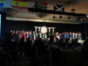 The Procession of Countries concludes with all 80 participants on stage to a sense of The Spirit from around the World!