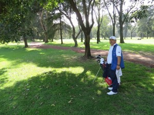 My caddie Federico waiting for me in the trees. It is a narrow course! No surprise my lone birdie came on the 212-yard par 3 4th hole, inspired by Carlos!