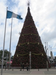 Huge Christmas tree in the Obelisco. Christmas comes early in Guatemala too!