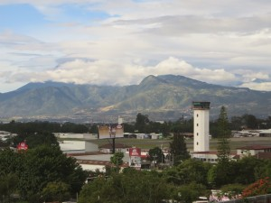 View of Guatemala City, the airport & mountains was quite exceptional from the roof of the Crowne Plaza.