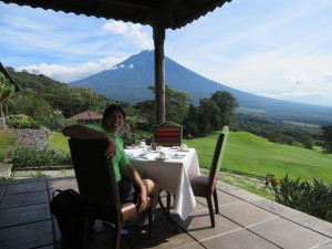 My breakfast spot with a view of the valley and Volcano Agua.