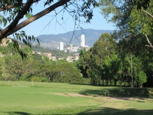 A view of the city from the fairway of the golf course!