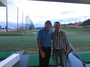 With Nico Astutias on the tee, upper deck, at Top Tee Cayala.
