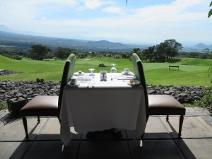 Your table awaits you at La Reunion. Sunrise breakfast or sunset shadows over the valley and first nine holes.