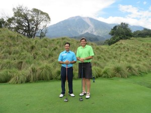 With Mario Navarro & Fuego Volcano on the 13th tee.