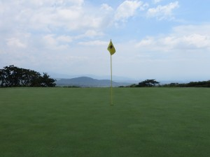 Infinity green on the fifth hole at La Reunion's Fuego Maya Course—spectacular!
