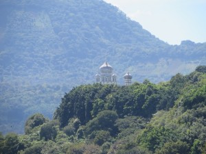 Domes of the Holy Trinity Monastery visible from the Mayan Golf Club.