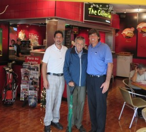 With Henry Kattan and his father at the Coffee Cup in the Multiplaza Mall in Tegucigalpa.