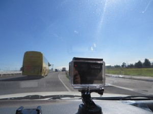 My two Go Pros, one looking out the other in. I took 16 road videos on Day 29.
