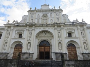 The beautiful San Jose Cathedral in Antigua right across from Central Park.