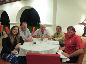 At dinner with w Antonella & Alejandro Lahrssen (L), Perry Dye (C), and Miguel Rivera (R).