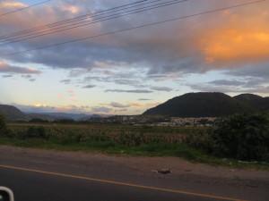 Beautiful countryside and a stunning sunset as I made my way to Guatemala City.