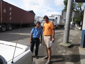With a young Nicaraguan police officer at the border.