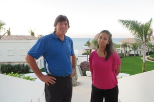 With Alejandra Zelaya on a tour of the Pristine Bay Resort.