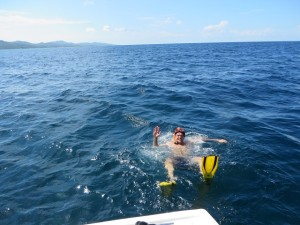 Now there is a big fish gone overboard! Snorkeling in the Caribbean Sea!